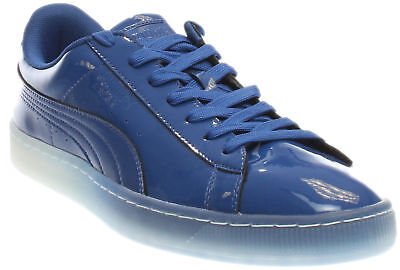 Patent Men Sneakers - Puma Basket Patent Ice Fade Sneakers - Blue - Mens
