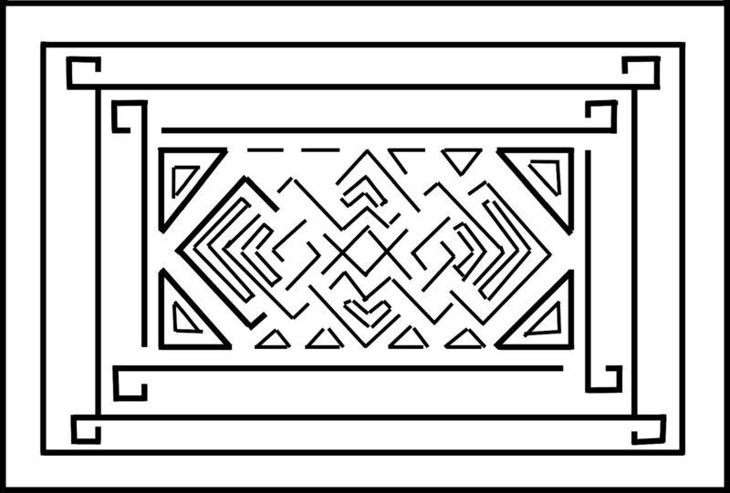"""Rug Hooking Pattern """"EL CAMINO""""  on natural linen"""