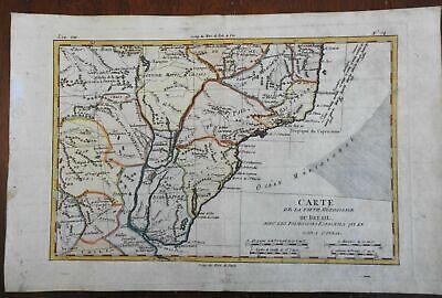 Southern Brazil Uruguay Rio de Janeiro Buenos Aires 1780 Bonne engraved map