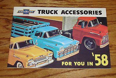 Chevrolet Truck Accessories Brochure - 1958 Chevrolet Truck Accessories Sales Brochure 58 Chevy Pickup