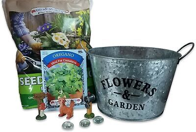 Herbal Fairy Garden Planter with Mini Accessories Bundle Starter Kit(9 Items)...