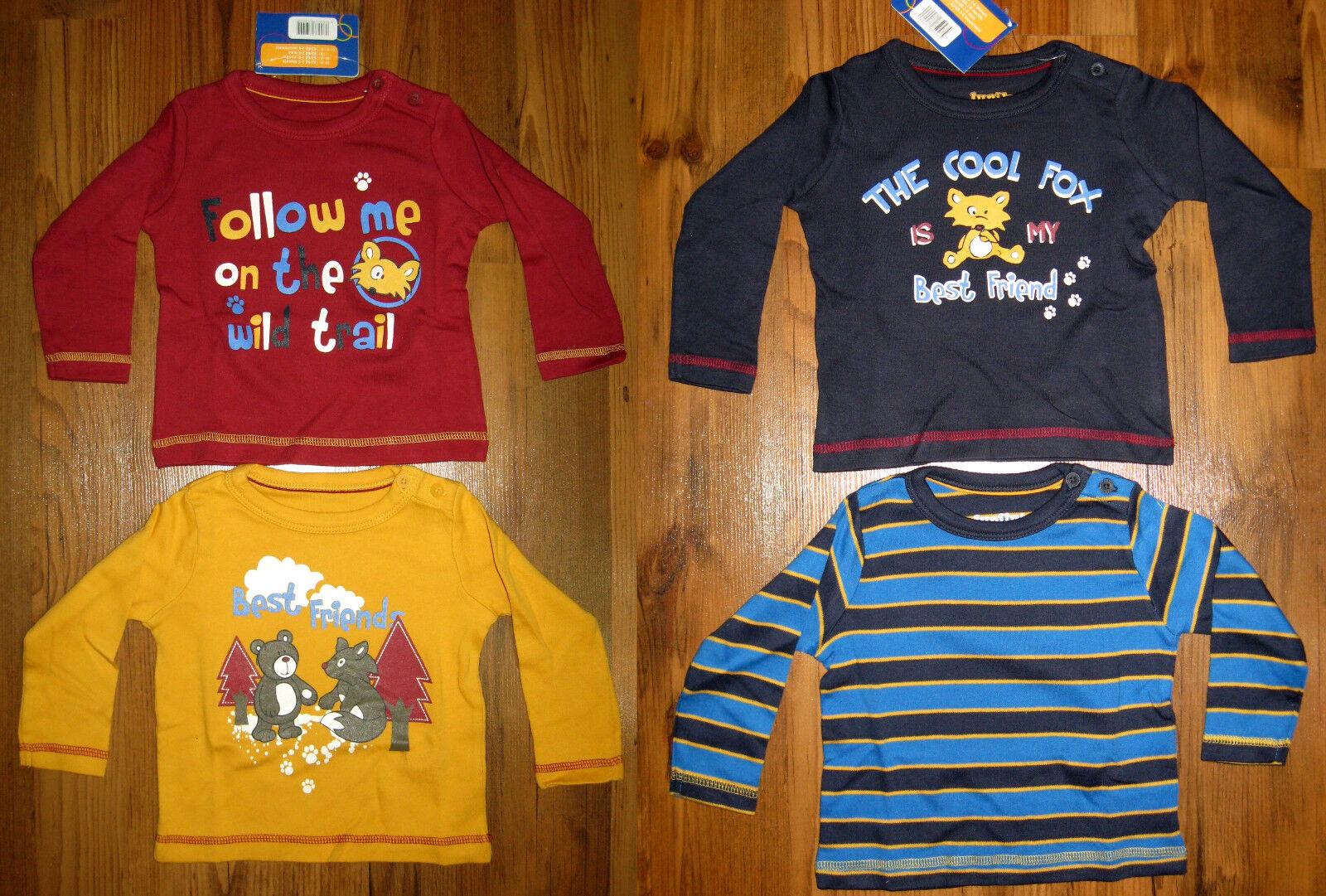 2-er Set Baby Langarmshirts Gr. 62-68, 74-80, 86-92 rot gelb blau Fuchs Bär