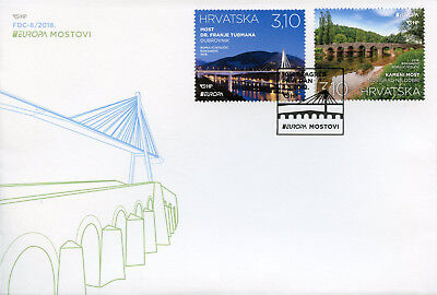 Croatia 2018 FDC Bridges Europa Bridge 2v Set Cover Architecture Tourism Stamps