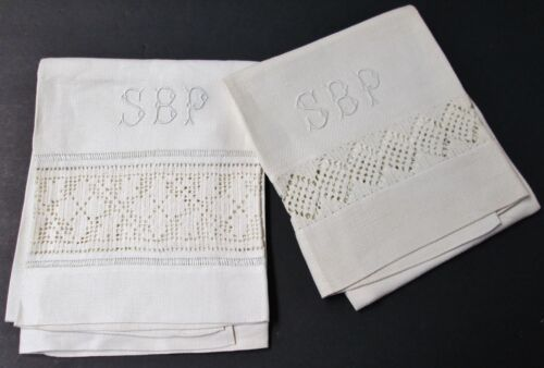 Antique Pair Nubby Linen Towels S B P Monogram Filet Crochet Insets Unused?