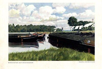 Wäschetag auf Lastkahn XL Kunstdruck 1938 Binnenschiff Binnenschifffahrt Fuchs +