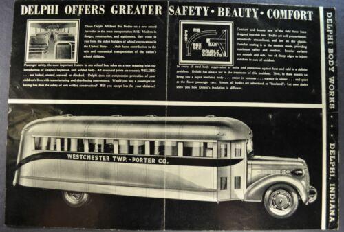 1938-1939 Delphi Bus Body Sales Brochure Folder Indiana Truck Original