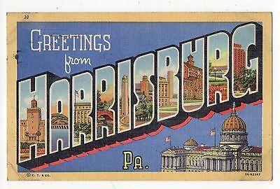 Greetings From Harrisburg Pennsylvania Vintage Postcard Aug16