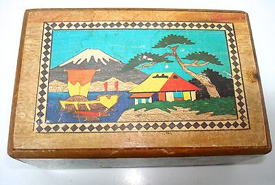 VINTAGE JAPANESE WOODEN MYSTERY PUZZLE BOX MT. FUJI ~ SECRET COMPARTMENT +DRAWER