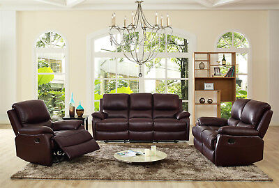 Palermo Reclining Leather Sofa Set In Brown or Black- 3 Piece, 2 Piece, Armchair