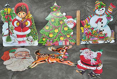 Lot of Vintage Cardboard Diecut Christmas Decorations - Lot #1