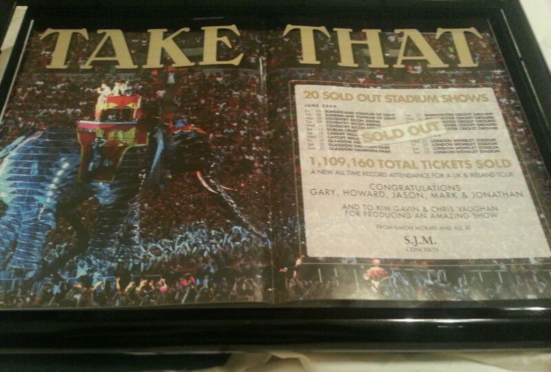 Take That 2009 Sold Out Stadium Tour Promo Poster Ad Framed!
