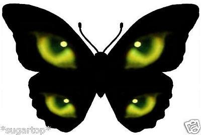 25 HALLOWEEN Black Cat Green Eyes Butterflies STUNNING Edible Cup Cake Toppers ](Halloween Black Cat Cupcakes)