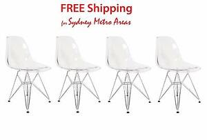 SALE - Eames Style Transparent DSR Dining Chair (Set of 4) Zetland Inner Sydney Preview