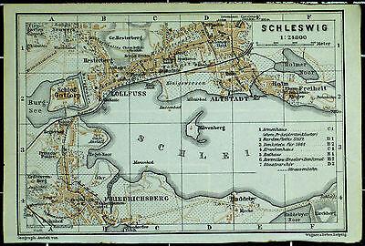 SCHLESWIG, alter farbiger Stadtplan, datiert 1914