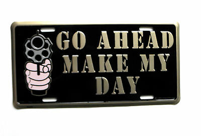Go Ahead Make My Day Dirty Harry Gun License Plate Auto Size 6 x 12 inches (Make My Plate)