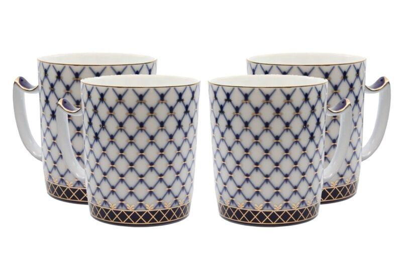 4 Russian Cobalt Blue Net Tea Cup Mugs Saint Petersberg - 24K Gold Bone China