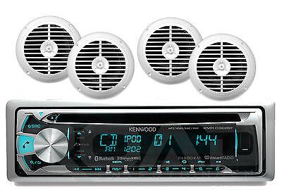 "Kenwood Bluetooth AUX CD USB iPod Radio, 6.5"" White Enrock 120W Marine Speakers"