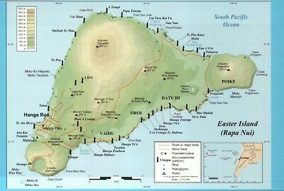 Topographic Map of Easter Island, Rapa Nui, Chile, Moai Statues etc. -- Postcard