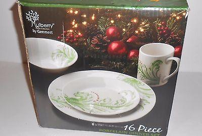 Collection 16 Piece Dinner Set - Mulberry Collection Sixreen (16) Piece Holiday Flourish Porcelain Dinner Set NEW