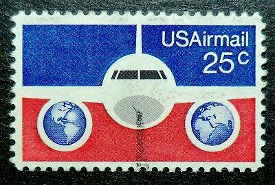 C89 used 1976 25c Plane & Globes US postal rate increase for international (Us International Mail Rates)