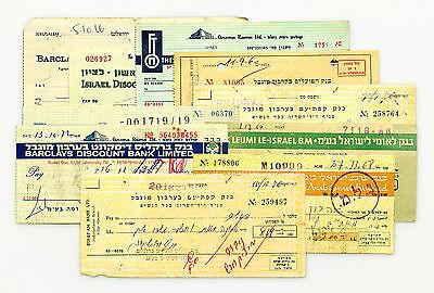Set of 10 diff. Israel bank checks 1900's nice used & unused