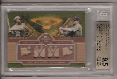 2010 TOPPS STERLING RELICS QUAD GAME USED BATS BABE RUTH 03/10 BGS GEM MINT 9.5! 2010 Baseball Bats