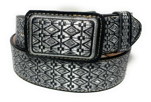 Cinto Charro Bordado Hilo Plateado. Mens Western Belt. Vaquero Leather Belt