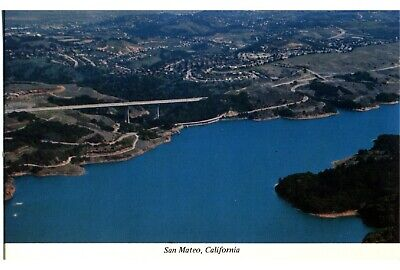 San Mateo, Calif. 70s Postcard Hwy 280, Crystal Springs Reservoir, Doran Bridge