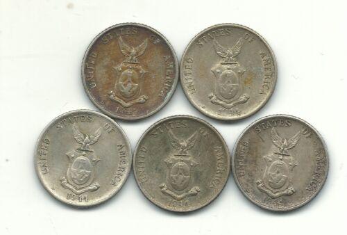 HIGHER GRADE LOT 5 1944 D PHILIPPINES SILVER 20 CENTAVOS COINS-OCT528