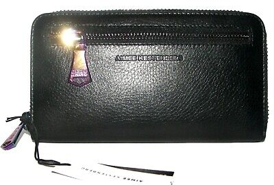 AIMEE KESTENBERG Black Leather Zip-Around Clutch Wallet NWT