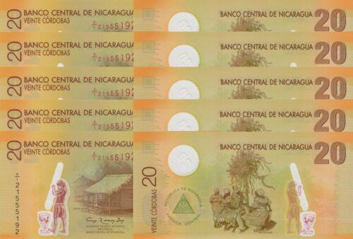 LOT, Nicaragua 20 Córdobas (2012) p202b Polymer x 5 PCS UNC