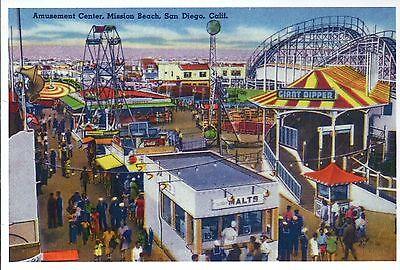 Mission Beach Amusement Center  San Diego California  Coaster    Modern Postcard