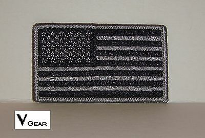 US USA American Flag patch BLACK and SILVER GRAY GREY lot of 150