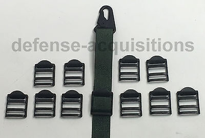 Set of 10 - 1 INCH Tension Lock Buckle Ladderlock Sling Attachment BLK - STEEL