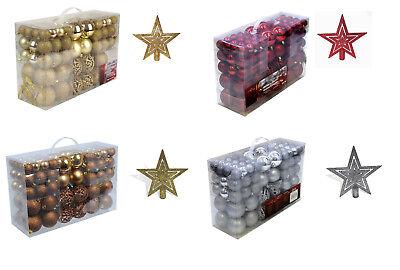 Set 101 Teile Weihnachtskugeln Kugeln Christbaumschmuck mit Baumspitze Stern NEU