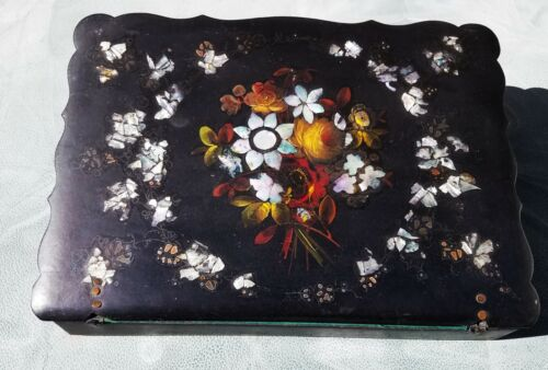Antique Victorian Lap Desk Inlaid black shell with Inkwell - Vintage MOP