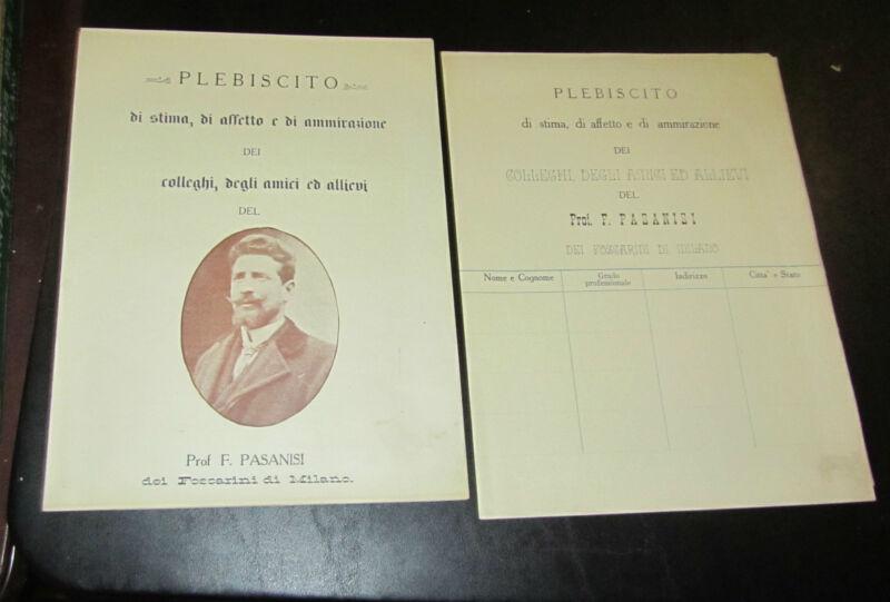 1906 Italian Tailoring School Letters of Recommendation Professor Pasani & Rosa
