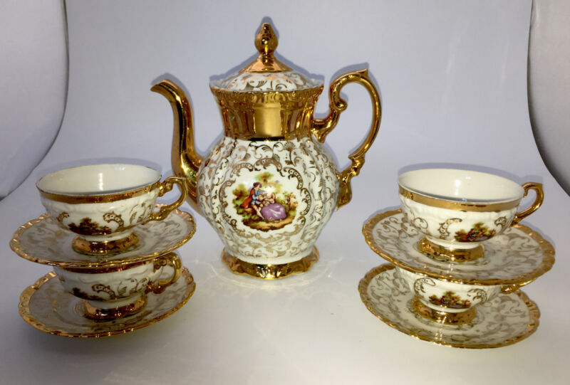 Vintage Tea Set Demitasse Courting/Loving Couple Gold Plated Bavaria Germany