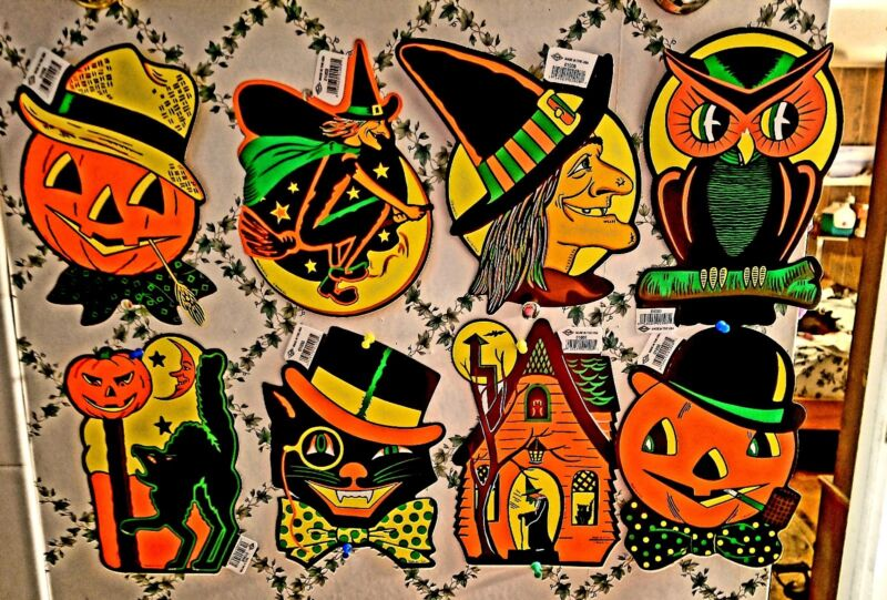 LOW SHIP! 8-BEISTLE-REPROS HALLOWEEN CLASSIC VINTAGE DESIGNS DIECUTS NEW W/TAGS!