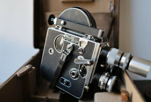 Vintage Paillard Bolex H 16 16mm Film Movie Camera W/Case, Accessories & Lenses