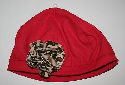 New Gymboree Red Girls Leopard Rosette Beret Style Hat size 3-4 Year NWT  Leopard Rosette
