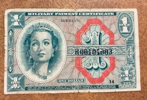 MPC Replacement Note Rare1 Dollar, Series 611, ND 1964  no H end of serial #