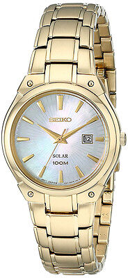 Seiko Women's Solar Powered 100m Gold Tone Stainless Steel Watch SUT130