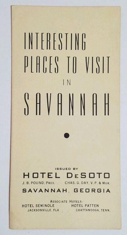 1940s Savannah Georgia Tourism Brochure Hotel DeSoto
