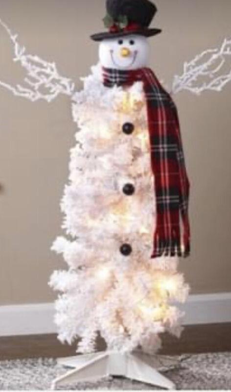 Pre-Lit  NEW Snowman Christmas Tree White Christmas Tree
