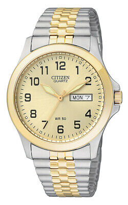 Citizen Men's Quartz Day-Date Calendar Silver & Gold-Tone 36mm Watch BF0574-92P