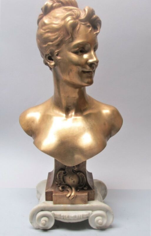 Superb French Art Nouveau Gilt Bronze Sculpture  Emile Pinedo  C. 1890  Antique