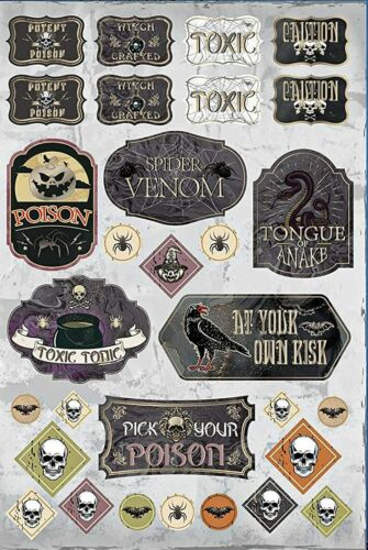 1 Sheet Halloween Apothecary Bottle Label Stickers Planner Supply DIY Crafts