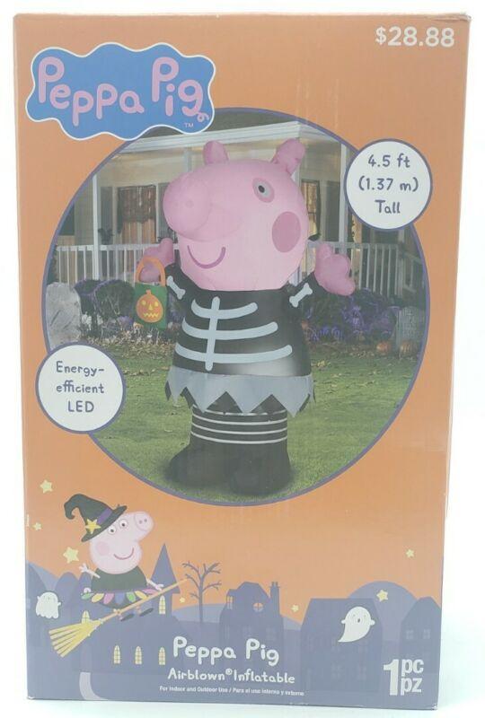 Peppa Pig Skeleton Inflatable Airblown Halloween Yard Decor 4.5 ft