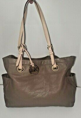 Michael Kors Taupe Pebbled Leather PURSE Tan Straps Gold hardware